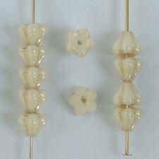 Flower Bell 6mm Cream Chalk Champagne 03000-14413 Czech Glass Bead x 50