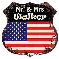 BP0194 America Flag MR. & MRS WALKER Family Name Sign Home Chic Decor Gift