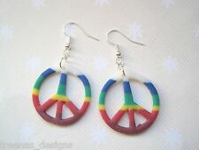 *ROUND CLAY RAINBOW COLOURS PEACE SIGN* Drop Earrings SP New Gay interest