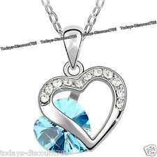 DOUBLE HEART BLUE NECKLACE ROMANTIC LOVE WOMEN WIFE DAUGHTER XMAS GIFT FOR HER