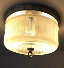 "Vintage 8"" Diameter Ceiling Light Fixture Frosted Clear Bullseye Kitchen Bath"