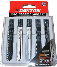 DEKTON 10 PIECE JIG SAW BLADE CUTTING TOOL SET JIGSAW BLADES FOR WOOD & PLASTIC