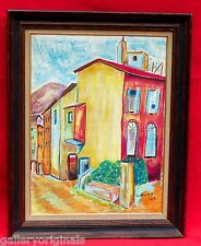VINTAGE COLORFUL GOUACHE PASTEL URBAN ART ROW HOUSES PAINTING SIGNED L.HOOK 1968