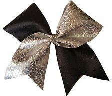 Glitter Black and silver printed Cheer Hair Bow