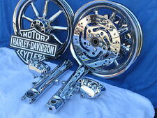 Harley Chrome Wheels Road King Street Electra Glide FLH Ultra 9 Spoke Touring FL