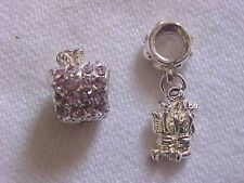 Apple Charm Pendant Silver Angel Charm Pink Crystal Apple Charm Bead LOT 2