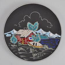 """AWF 908 """"Naust"""" Teller Vintage Pottery Plate - Norway - Norwegen - Bootshaus"""