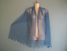 Stunning 100% pure cashmere lace shawl/scarf.  col. DENIM blue