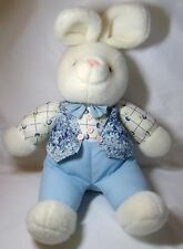 White Boy Bunny Rabbit w Outfit Vest Bow Tie Soft Easter Plush Stuffed Animal