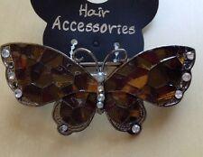 Un marron et or émaillé et cristaux en métal papillon barrette pince à cheveux