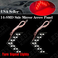 2X Red Car 14-SMD Arrow Panel Rear View Side Mirror Turn Signal Corner LED Light