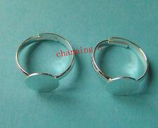 2pz base per anelli regolabile 19mm in ottone  colore argento ,lead,nickel free