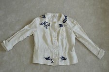 Prada Beaded Floral Cotton / Linen Popper Beige Shirt Blazer Jacket Womens 42 10
