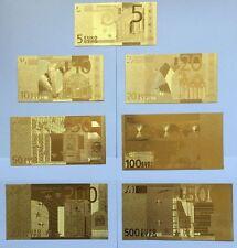 Gold billetes euro set 7 piezas de oro lingote de oro apariencias regalo souvenir nuevo