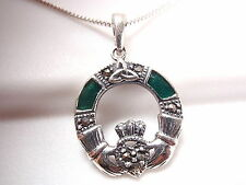 Marcasite Trinity Claddagh Necklace Green Accents Sterling Silver Corona Sun