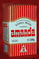 "YERBA MATE TEA AMANDA - ""HARD PACK"" - ONE  2.2 LBS BAG - 1 KG"