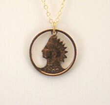 Indian Head cent With Rim, Cut Out Coin Jewelry, Necklace