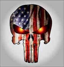 Punisher with American Flag and Glowing Eyes sticker / decal  **Free Shipping**