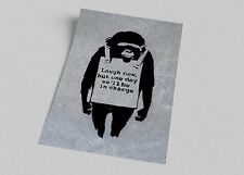ACEO Banksy Laugh Now Graffiti Street Art on Canvas Giclee Print