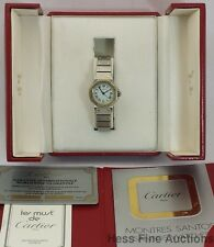 Minty Cartier Ladies 18k Gold Steel Sapphire Crown Automatic Santos Watch Box
