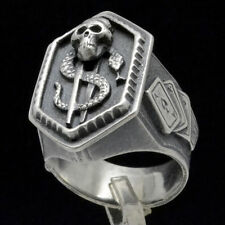 Biker Poker Skull Snake Dollar Sign Great Men Gift idea Sterling Silver Ring S10