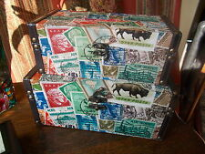 OLD VINTAGE STYLE WOOD STORAGE PORT POSTAGE STAMP FABRIC BOX CHESTS BEDROOM
