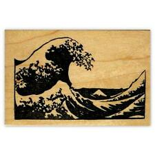 The Great Wave mounted rubber stamp, Japanese, Hokusai, Sweet Grass Stamps #12