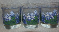 "Texas Blue Bonnets Old Fashioned Glass Tumblers-Lot of 3- 4 1/4"" Tall"