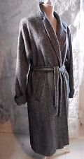 Vintage Grey Herringbone Tweed Wrapover Wool Blend Coat Tie Belt 16/18 70s VGC L