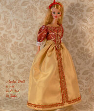 Golden Princess BARBIE Gold & Red TAFFETA Gown-Headband-Shoes