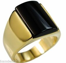 Black Onyx 12mm x 17mm Sleek Men's ring 14k gold overlay size 10