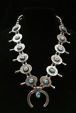 Handcrafted Old Pawn Native American Turquoise & Silver Squash Blossom By J AB