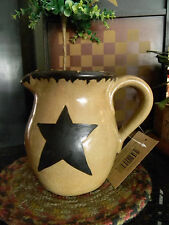 STAR Pitcher Primitive Vintage Look Shabby Country Pottery Shelf Sitter