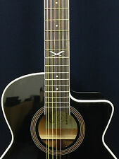 EKO Next Series 12-String Jumbo Acoustic Guitar w/Cutaway, EQ. Black + Free Bag