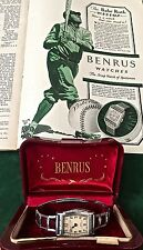 VINTAGE BABE RUTH WRIST WATCH-ANTIQUE BASEBALL-w/RARE 1929 BENRUS ADVERTISEMENT