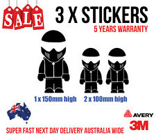 3 x The Stig Family stickers 1 x 150mm high & 2 x 100mm high WHITE COLOUR