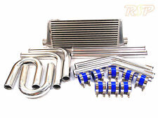 """Universal Alloy Intercooler 550mm 180mm 65mm 2.25"""" Hard Pipe Kit Silicone Clamps"""
