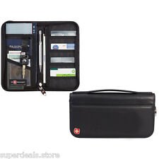 Leather Travel Passport ID Credit Card Zippered Organizer Wallet Black - Wenger