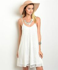 COWGIRL GYPSY  country BOHO OFF WHITE Crocheted LACE SHEATH DRESS Western SMALL