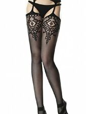 FLORAL KEY HOLE STOCKINGS WITH ATTACHED GARTER BELT LC79437