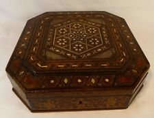Large Intricate Tunbridge Ware Octagonal Detailed Box Inlaid Mother Of Pearl