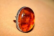 HANDMADE SILVER PLATED AMBER RING SIZE US NO 8.5 STONE 29/20.7 MM OVAL SHAPE