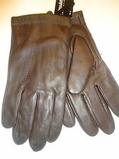 Mens Izod Thinsulate Genuine Leather Gloves,M, Brown
