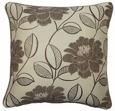 """BEIGE CREAM CHENILLE FLORAL EMBROIDERED LEAVES 22"""" 55CM PIPED CUSHION COVER"""