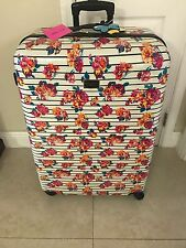 BETSEY JOHNSON L 28 IN  STRIPE FLORAL HARDCASE SPINNER LUGGAGE SUITCASE NWT