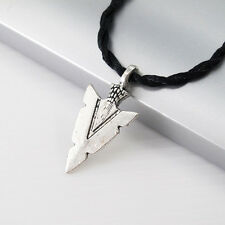 Vintage Silver Native American Arrow Head Pendant Black Tribal Choker Necklace