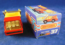 Very Rare Matchbox Superfast MB - 37 c Skip Truck Red Chrome Interior/amber wind