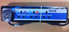 4 Way Extension Socket 13a 2m Long Lead Cable With Plug Glossy Black