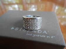 RETIRED Silpada Sterling Silver & Cubic Zirconia Channel Set Ring Size 6