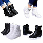 Women's Casual Sneakers Velcro Hidden Wedge High Top Ankle Boots Lace Up Shoes
